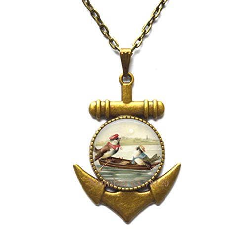 Yijianxhzao Birds on Rowboat Anchor Necklace,Inspirational Jewelry,Graduation Gift,Dainty Anchor Necklace,BV100 (V2)