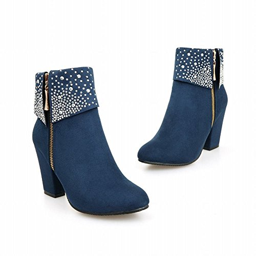Lucksender Womens Fashion Zipper Pesanti Stivali Con Tacco Alto Con Strass Blu Scuro