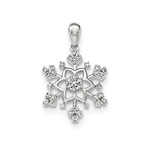 White Gold Diamond Snowflake Pendant - ICE CARATS 14kt White Gold Diamond Snowflake Pendant Charm Necklace Slide Chain Winter Fine Jewelry Ideal Gifts For Women Gift Set From Heart