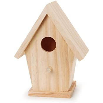 Amazon Com Darice 9184 74 Natural Wood Birdhouse 5 3 4