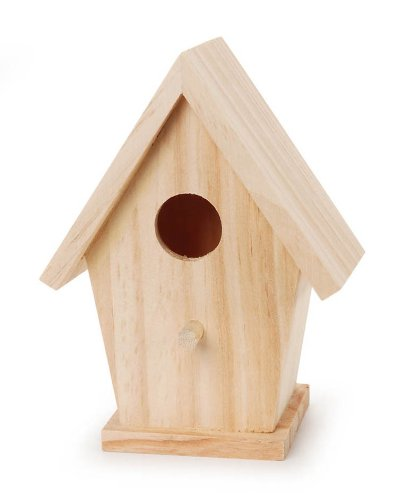 Darice 9184-74 Natural Wood Birdhouse, 5-3/4-Inch (Bird Unfinished Wood)
