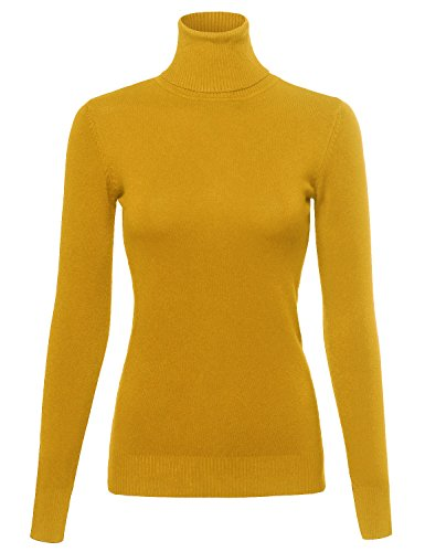 Made by Emma Basic Lightweight Ribbed Turtleneck Sweater Top Mustard L (Turtleneck Womens Ribbed)