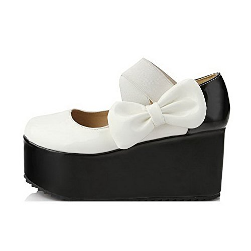 Pumps Pull Solid On Shoes AmoonyFashion Round Pu Womens White Toe Closed High Heels fTwqUvU5
