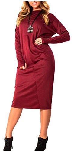 Confortables Femmes Automne Pur Base De Couleur Hiver Pleine Longueur Robe Surdimensionnée Vin Rouge