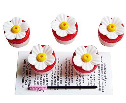 5 Handheld Hummingbird Feeders with Hydrangea Flower Ports-