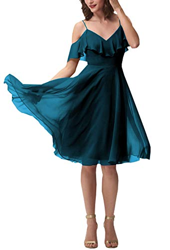 Now and Forever Short A-Line V Neck Ruffled Chiffon Prom Bridesmaid Dresses for Women Formal Gown (Peacock,14) ()