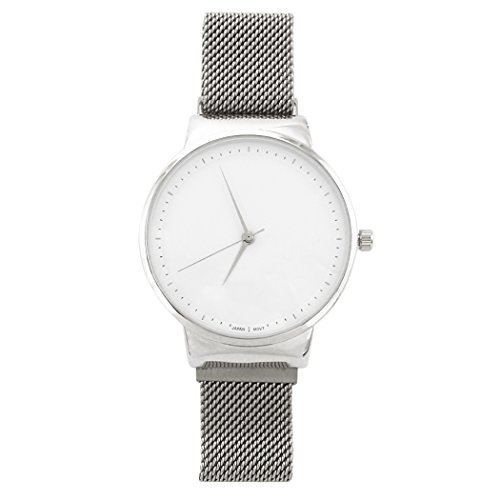 (Rosemarie Collections Magnetic Milanese Metal Mesh Band Fashion Wrist Watch (Silver Tone))
