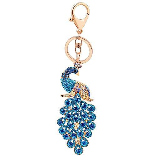 BeeChamp Peacock Shape Shiny Rhinestone Inlay Blingbling Keychain Handbag Purse Charm Car Pendant Keyfob Keyring (Blue)