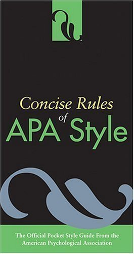 Concise Rules of APA Style (Concise Rules of the American Psychological Association (APA) Style) Unstated Edition by American Psychological Association published by American Psychological Association (APA) (2005)
