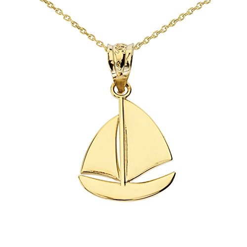 Fine 14k Yellow Gold Nautical Sailboat Charm Pendant Necklace, 16