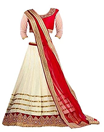 984ac0df6a Clickedia Girls Net Lehenga Choli/ Chaniya Choli (Kids -- Fogg beige_Beige_  8-12 yrs): Amazon.in: Clothing & Accessories
