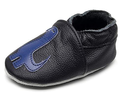 HONGTEYA Baby Moccasins Genuine Leather Sole Toddler Boys Girls Shoes First Walker Cartoon Slippers (6-12Months, 12.5cm,5.5 M US Toddler, Dinosaur) ()