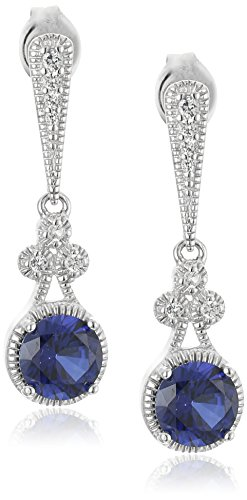 Sterling Silver Created Blue and White Sapphire Round Drop Earrings