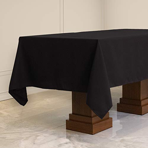 Kadut Rectangle Tablecloth (60 x 102 Inch) Black Rectangular Table Cloth for 6 Foot Table | Heavy Duty Fabric | Stain Proof Table Cloth for Parties, Weddings, Kitchen, Wrinkle-Resistant Table Cover