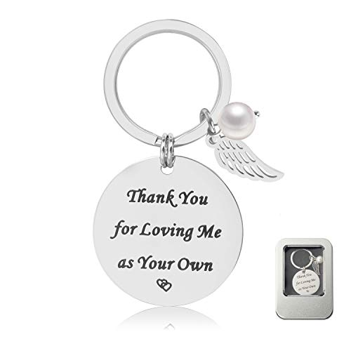 Step Mother/Father/Mom/Dad Keychain Gifts - Mom Gift idea for Mothers Day from Husband Daughter Son Kids, Stainless Steel Jewelry, Birthday Gifts for Women Wife Valentines Gifts -