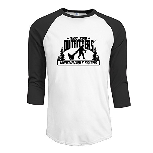 Bigfoot Yeti Mens Cherished Screen-Print 3/4 Sleeve Raglan Shirt Premium Cotton T Shirts