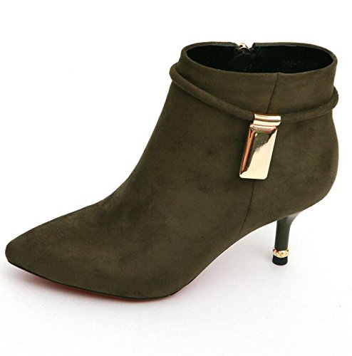 KHSKX-Green 5Cm Satin Ladies Boot With Stylish Metal Decorated With Fine Tip High-Heeled Boots And Ankle Boots Workplace Ol 35 Xxqryy
