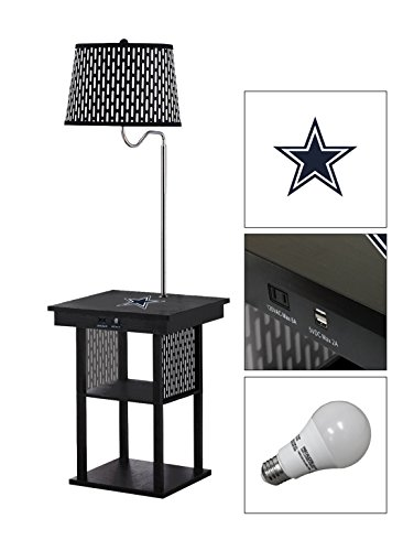 Black Side End Table USB Ports Electric Outlet Built-In Lamp Featuring a Football Team Logo-FREE LED BULB (Cowboys) (Dorm Cowboys Lamp)