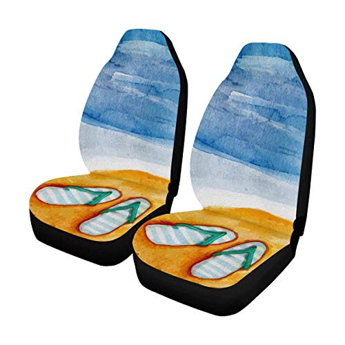 - INTERESTPRINT Watercolor Summer Sand Sea Flip Flops Car Seat Cover Front Seats Only Full Set of 2, Vehicle Seat Protector Car Mat Covers, Fit Most Vehicle, Cars, Sedan, Truck, SUV, Van