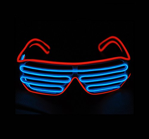 [Aquat Shutter EL Wire Neon Glasses LED Sunglasses Light Up Costumes For Party RB03 (Red + Blue)] (Light Up Costumes For Adults)