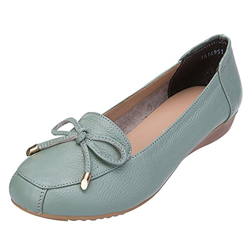 Green Leather Moccasins Slippers Wedge Summer Women Loafer Out Genuine Hollowed Comfort Jamron Heel Breathable qwOap