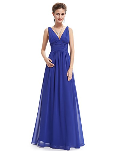 Ever Pretty Elegant V-neck Long Chiffon Crystal Maxi Evening Dress 09016, Size 8, Saphire Blue, HE09016SB10