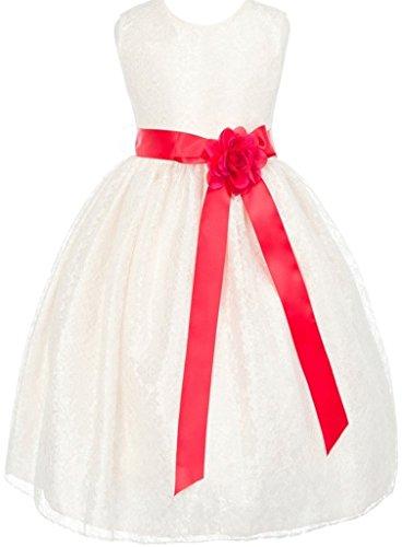 Swirl Lace Mini Dress - Big Girls' Ivory Dress Lace Custom Ribbon Flowers Girls Dresses Red Red 8