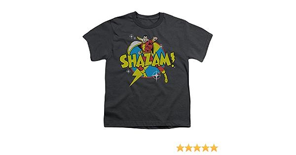 *NEW* SHAZAM Justice League Super Hero Boys T-Shirt Charcoal Gray Size 8 Medium