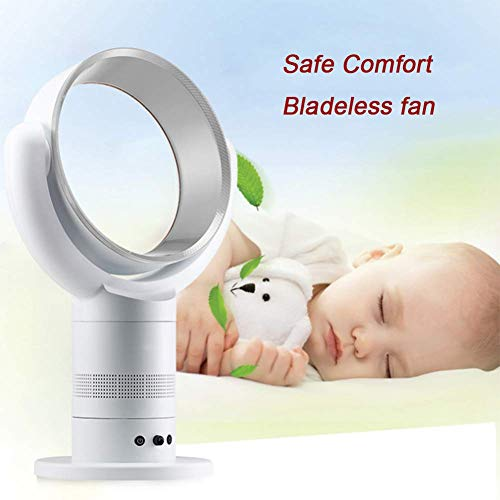 Ylmhe Table Fans Bladeless Fan Cool Air Breeze Oscillating Fan Alternate Between Remote Control Included Noise Reduction Design Safe and Comfort ()