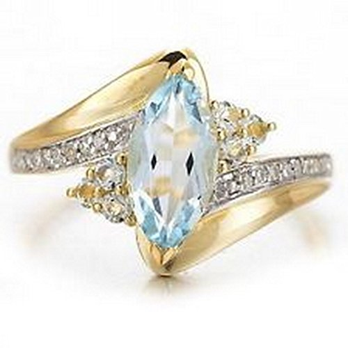 - YD Jewels - Fashion Size 8 Aquamarine Marquise Cut 18K Gold Filled Rings For Women