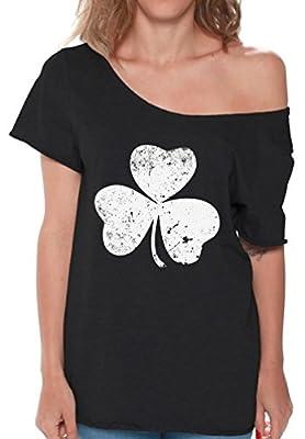 Pekatees Clover Leaf Off Shoulder Shirt Shamrock Gifts For Women ST. Patrick's