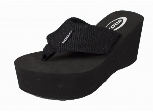 SODA Womens Oxley-S Flip Flop Sandals,Black ()