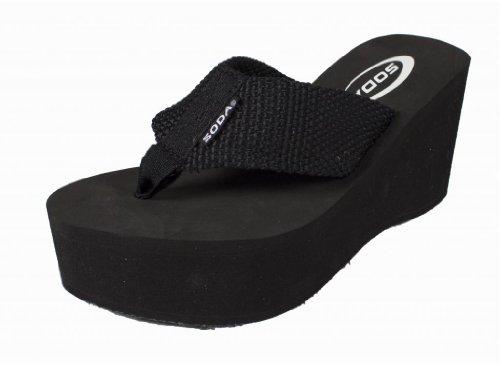 Sandal Wedge High (Soda Womens Oxley-S Flip Flop Sandals,Black Pu,9)