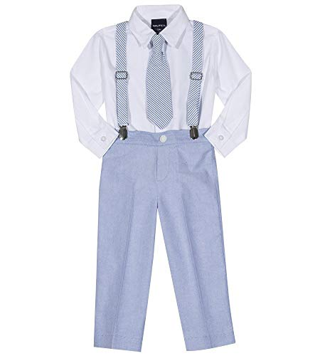 Nautica Boys' Little Set with Shirt, Pant, Suspenders, and Bow Tie, Seersucker Regatta Blue, ()