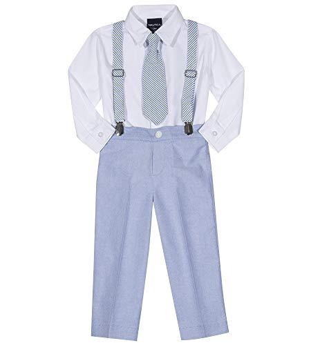 Boys Seersucker Suit - Nautica Boys' Little Set with Shirt, Pant, Suspenders, and Bow Tie, Seersucker Regatta Blue, 7