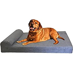 Dogbed4less Orthopedic Memory Foam Pet Bed with Headrest Pillow, Waterproof Internal Case and Washable External Cover, 47 X 29-Inch, Microsuede Gray