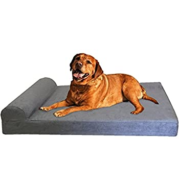 Image of Dogbed4less Premium Extra Large Head Rest Orthopedic Cooling Memory Foam Dog Bed with Waterproof Internal Case and Durable Washable External Cover for Large to XL Pet Home and Kitchen