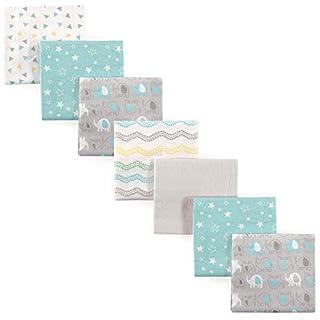 Luvable Friends Unisex Baby Cotton Flannel Receiving Blankets Bundle, Basic Elephant, One Size