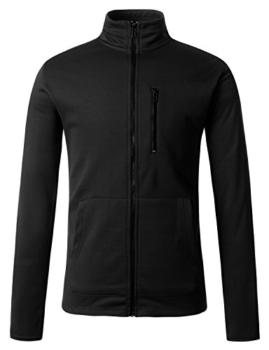 Regna X Mens Zipped Pockets Track Black Medium Fleece Chest Zip Pocket Jackets