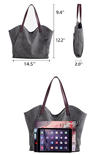 ZhmThs Canvas Shoulder Bag Casual Big Shoppingbags Tote Handbag Work Bag Travel Bags for Women Girls Ladies by ZhmThs (Image #1)