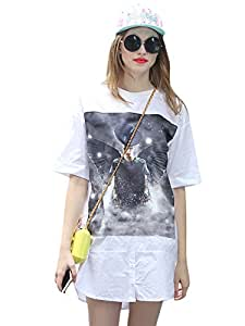 Best 7934193J0RB252107JF Loose O Neck Print Button Dress White Size M