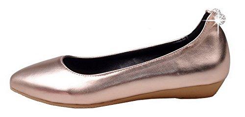 Donna Chiusa Oro Tirare Ballet Tacco VogueZone009 Flats Basso Luccichio Punta Puro dqZwnCn4
