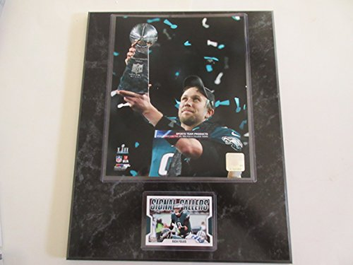 Nick Foles Philadelphia Eagles Super Bowl Mvp Trophy Photo Signal Callers Player Card Mounted On A 12  X 15  Black Marble Plaque
