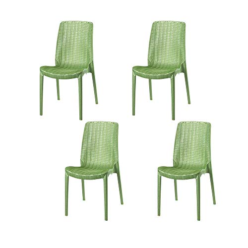 Lagoon Rue Pearl Green Stack-Able Rattan Dinning Chair - 4 pcs/Set
