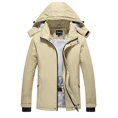 Spmor Women's Waterproof Ski Jacket Mountain Rain Coat Windproof Skin Hooded Jacket Khaki Medium