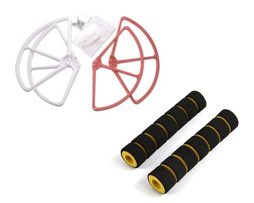 """DJI Phantom 1 Phantom FC40 Phantom 2 Phantom 2 Vision Phantom 2 Vision+ Quadcopter Protective Bundle Set Landing Gear High-quality Professional Foam Protector 2Pcs and 9"""" Propeller Bumper Prop Guard 4 Pcs - Red and White"""