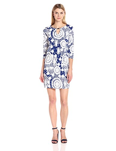 Tiana B Women's 3/4 Sleeve Puff Printed Knit Dress with Keyhole Metal Trim, Blue/White, 6