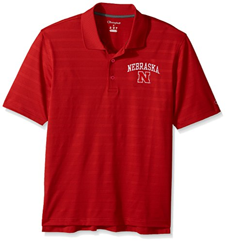 NCAA Nebraska Cornhuskers Champion Men's Textured Solid Polo, Large, Scarlet (Champions Polo)