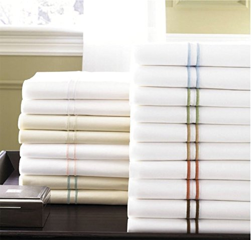 Sferra 500 TC White 100% Egyptian Cotton Percale Queen (4) Piece Sheet Set with Blue Satin Embroidery Made in - Celeste Sferra Luxury Bedding