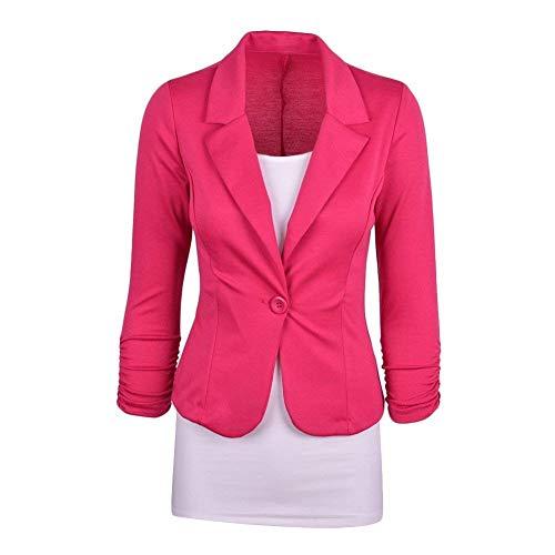 Bavero Camicia Donna Pink Giovane Sottile Ufficio Giacche Primaverile Con Monocromo Blazer Tailleur Giacca Women Hot Button Manica Da Business Autunno Lunga xf7SdqX